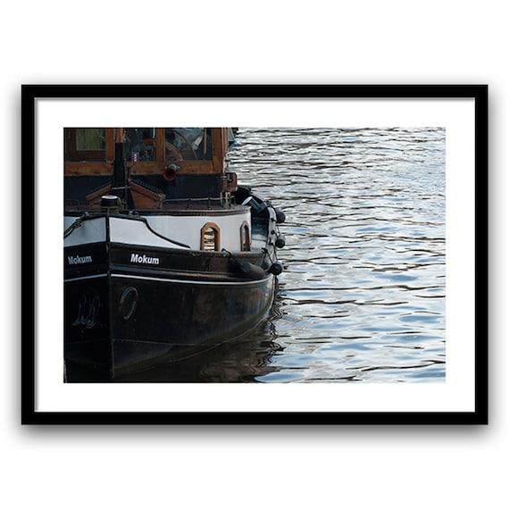 Nautical Wall Prints, Boat Decor, Nautical Theme Decor, Fine Art Photography, Amsterdam, White Black Brown