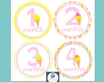 First Year Stickers, 1st Year Stickers, Baby Month Stickers, Milestone Stickers, Ice Cream