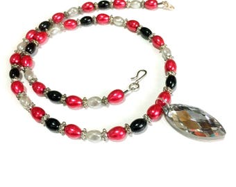 Red, Black, and Twisted grey Pearl with Crystal Pendant Necklace / Pearl Necklace / Crystal Necklace /