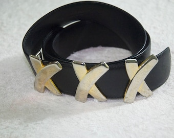 Vintage Paloma Picasso Black Leather Belt