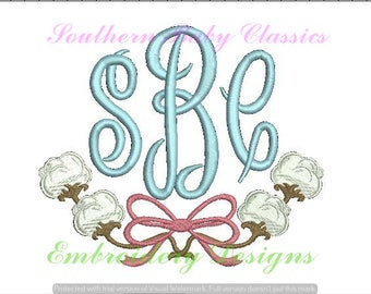 Cotton Bow Monogram Frame Embroidery Fill Design for Embroidery Machine Monograms Designs Preppy Southern Bows Baby Girl