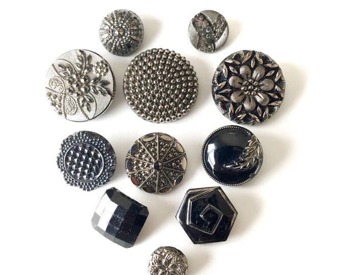 Antique Glass Buttons Black & Silver Iridescent Vintage Sewing Jewelry