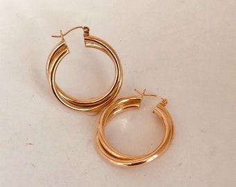 """Vintage 14K Gold Hoop Earrings 1 1/4"""" 4.6G"""