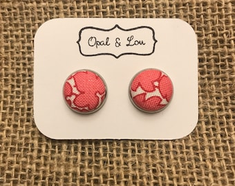 Fabric Button Earrings / Pink leaves