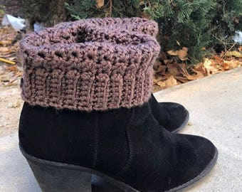 Boot Cuffs - Brown Boot Cuffs - Textured Boot Cuffs - Boot Socks - Crocheted Boot Cuffs - Leg Warmers - Cute Boot Socks - Elegant Boot Cuffs