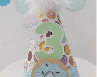 Donut Birthday Party Hat - Donuts, Light Blue, Tan, Brown, Mint Green - Personalized