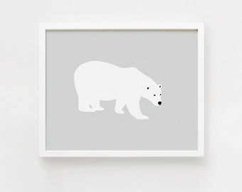 Polar bear Printable art Gray and white Minimalist Bear Postert 8x10, 11x14 Horizontal print Wall art INSTANT DOWNLOAD