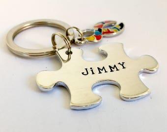 Autism Keychain, Puzzle Keyring, Awareness Gift, Jigsaw Piece Keyring, Personalized Keychain, Personalised Keepsake, Autistic, Ribbon