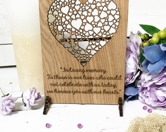 In Loving Memory Sign, Wedding Remembrance Sign, Wooden Wedding Sign,  Wedding Memory Plaque, 04WS