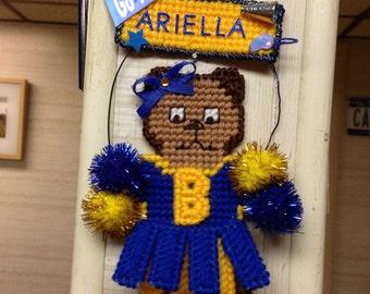 Cheerleader School Colors Magnet or Wall Hanging Personalized Bear School Colors Football Cheerleaders School Mascot Needlepoint