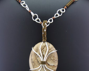 Picture Jasper with Silver Wrapping