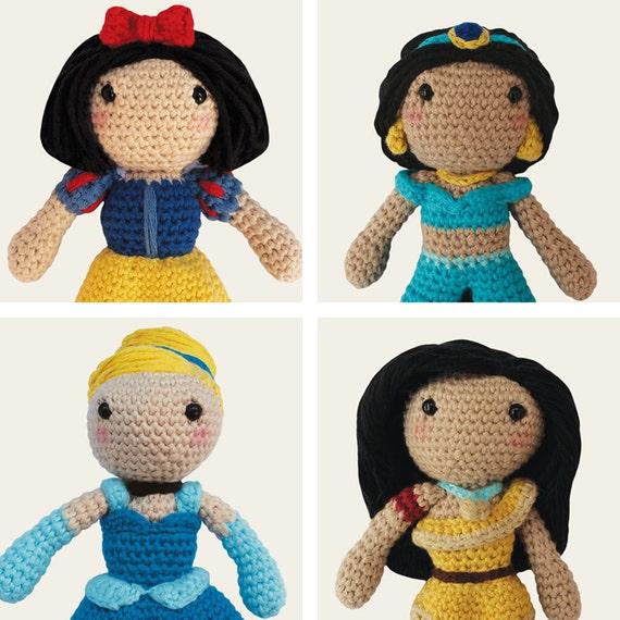 Disney Princess: Snow White, Jasmine, Cinderella & Pocahontas. Amigurumi Pattern PDF.