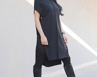 kurta dress, short kurta, kurta, cotton kurta, black kurta, long kurta, long kurta dress, long loose tunic, loose tunic dress, tunic