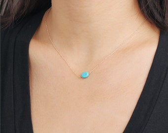 Delicate simple everyday oval turquoise pendant necklace chain available in gold or silver