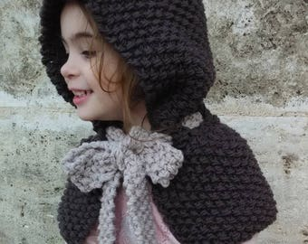 Hand knit hood for girls and mums, Knitted cape, Royalynn Hood, Cape with a bow, Balaclava, Hand knit Hat, Fairy hood, Winter accessories