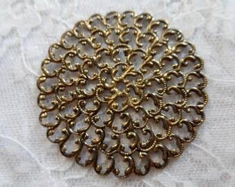 "Vintage gold plate brass stamped filigree,1&7/8th"",1pc-FLG66"