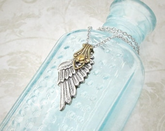 Angelic Whispers - Guardian Angel Necklace, Dainty Necklace, Wing Charm Necklace, Silver Wing Jewelry, Memorial Necklace, Skyward
