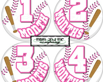 12 Precut Monthly Sports Stickers Baby Shower gift 1- 12 Month stickers Infant Milestone stickers Onepiece stickers Baby Girl Baseball decal