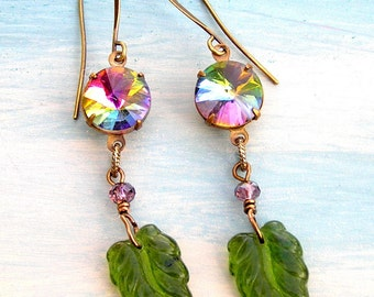 Rainbow Round Rivoli Earrings