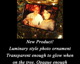 Christmas Photo Ornament Luminary Style Personalized Custom Made Picture Ornament