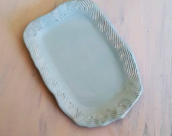 Dish fruit ceramic Blue ceramic serving dish, ceramic dinnerware, Blue ceramic plate, mothers day gift, flat cake