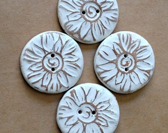 4 Handmade Ceramic Buttons - Sun Buttons -  Rustic Neutral Sunburst Buttons in Stoneware - Woodland and Rustic Handmade Knitting Supplies