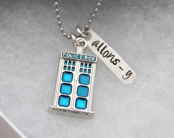 Police Box Necklace with Allons-y Tag, Whovian, Geek Jewelry
