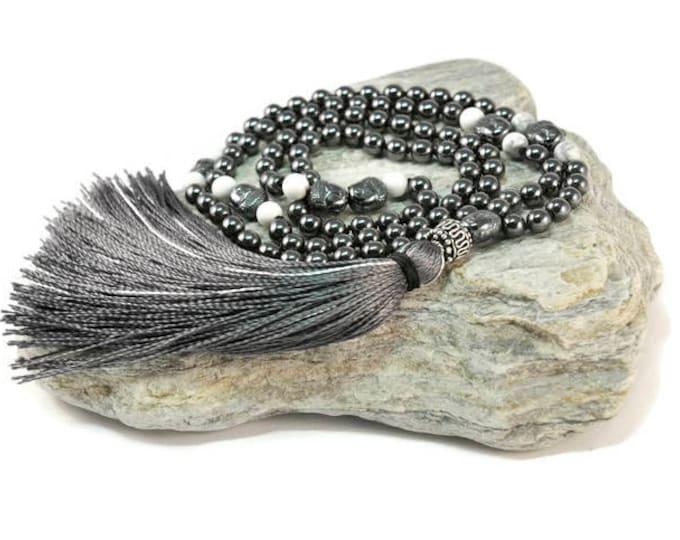 Hematite & Howlite Mala Necklace Boho Style. Yoga. Meditation. Ideas for her. Boho Jewelry. Bohemian Necklace. Tassel Necklace