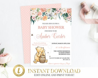 Girl Winnie the Pooh Baby Shower Classic Pooh Baby Shower Pooh Invitation Baby Shower Invite Pooh Bear Pooh Classic Shower Invitation