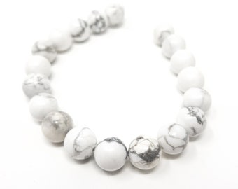 White Howlite Round Beads. Semi-Precious Gemstones. 6mm, 8mm or 10mm.