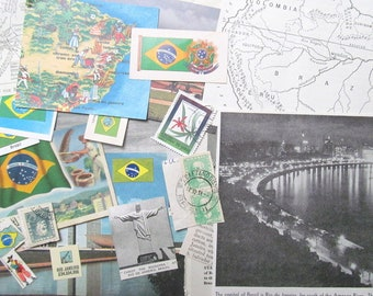 Vintage Brazil paper ephemera pack: 30 pieces including maps, pictures, stamps. Paper for scrapbooks, travel journal EP864