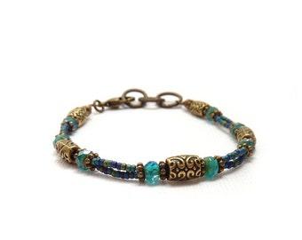 Blue Seed Bead Friendship Bracelet - Multistrand Stacking Bracelet - Textured Brass - Picasso Glass - Boho Bracelet