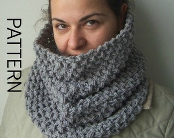 Cowl  Knitting Pattern  PDF  pattern  scarf - Beginner   DIY Unisex  Digital pattern Instantdownload Pattern Handmade Knitting Scarf Pattern