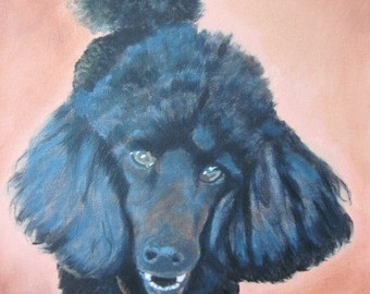 Original Custom Dog Portrait Painting from your own photo, oil on canvas, pet portrait or any animal. example Poodle