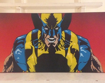 Wolverine. Hand painted spray paint art. X-men. Superhero Stencil fan art.