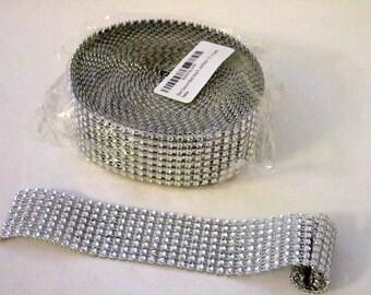 "Silver Diamond Mesh Ribbon 1 1/2""  10 Yards Grab Bag Destash"