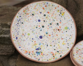 Polka dot plate Multicolor plate Colorful plate White plate Dotted plate Decorative plate Mother gift Dinner plate Pottery plate Serving