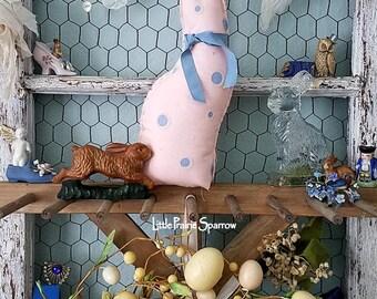 Bunny Rabbit, Stuffed Fabric Bunny, Fabric Rabbit, Rabbit Pillow, Easter Bunny, Cloth Rabbit, Easter Decor, Pink Rabbit, Shabby Chic Rabbit