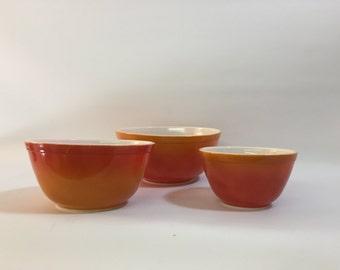 Burnt Orange Pyrex Nesting Bowls