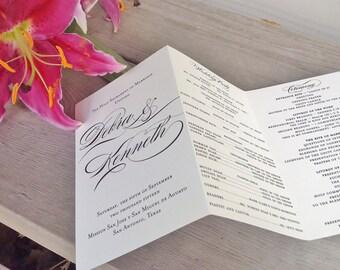wedding ceremony program personalized tri fold wedding program calligraphy ivorycream