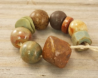 Rustic ceramic bead set. ceramic bead set,  bead set, rustic beads by Eclectic Prairie [637]