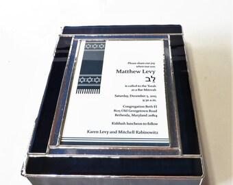 "Stained Glass Bar Mitzvah Invitation Keepsake Gift Box Contemporary Custom Made 7.5""x9.5""x2"""