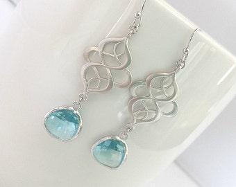 Royal Aquamarine Wedding Earrings, Chandelier Earrings ,Drop, Dangle, Gemstone, bridesmaid gifts,Wedding jewelry, March Birthstone Jewelry