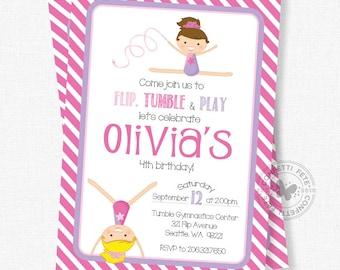 Gymnastics Birthday Invitation, Gymnastics Party Invitation, Girl Birthday Invitation, Gymnastics Invitation, Pink and Purple