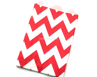 480 Red Chevron Favor Bags Red Wedding Candy Buffet Dessert Bar Baby Shower Paper Goods Kids Birthday Party Popcorn Bags Clearance Sale