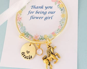 Flower Girl Gift, Thank you for being our flower girl, Gold, Unicorn Bracelet, Flower girl Bracelet, Flower Girl Jewelry
