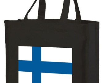 Finish Flag Cotton Shopping Bag with gusset and long handles, 3 colour options