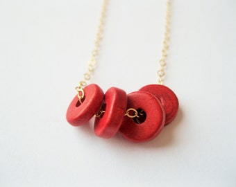 Red disc necklace, red beads necklace, bead necklace, classic,  red necklace, ring necklace, dainty simple modern necklace, disc necklace