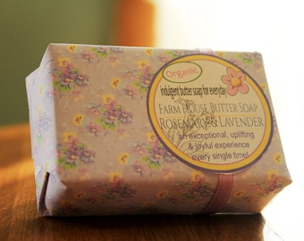 Shea Butter Soap-Rosemary Lavender- Every Day Indulgent Butter Soap 5 oz. - Vegan, Floral Soap, shea butter, cocoa, mango butter, argan oil
