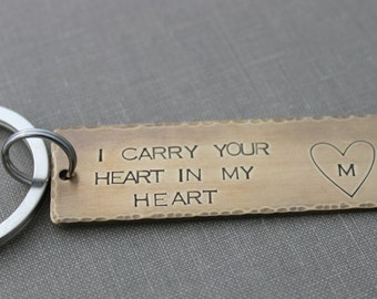 I carry your heart in my heart - Hand Stamped Keychain, Long Rectangle, Gift Idea,  Antiqued rustic style, Bronze gold tone Customized